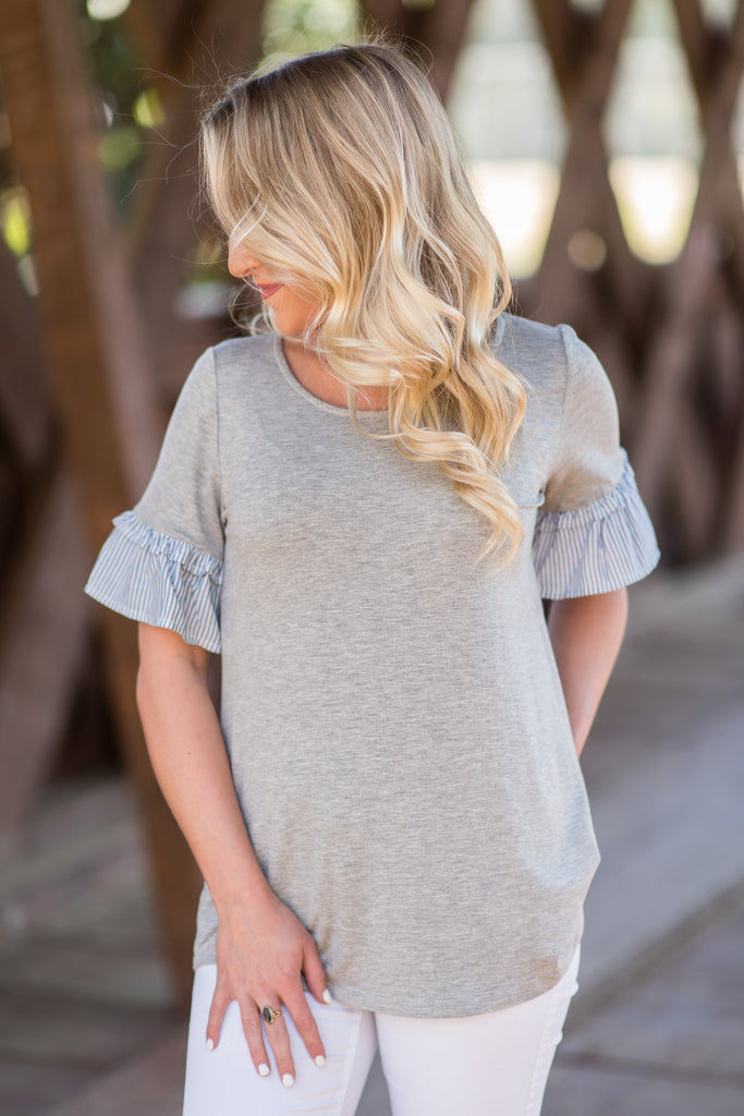 Say You'll Be Mine Top, Heather Gray