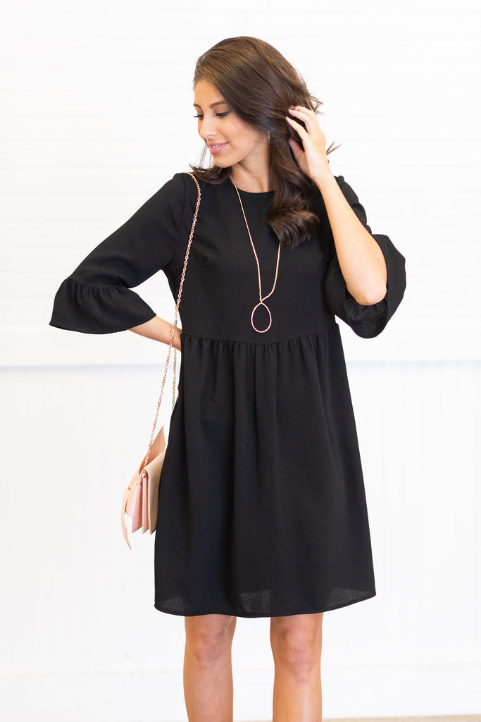 Dreaming Of The Day Black Peplum Sleeves Dress