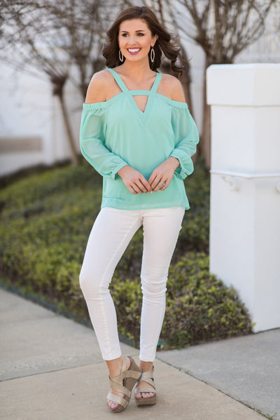 Easy Romance Blouse, Mint