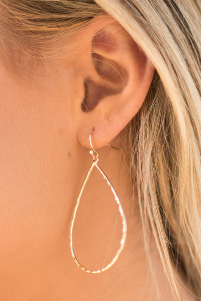 Shed No Tears Earrings, Gold