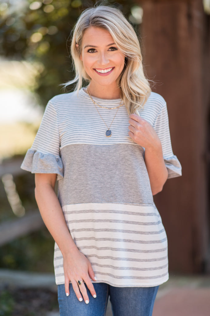 Face A New Day Top, Gray