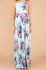 maxi dress, dress, jersey knit fabric, comfy, floral print, mint