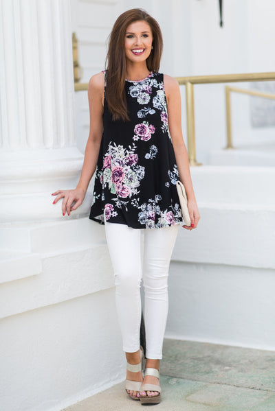 Beautifully In Bloom Tank, Black-Mauve