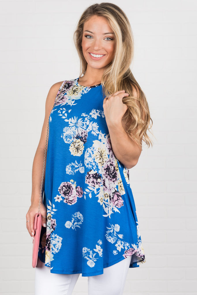 Beautifully In Bloom Tank, Royal Blue