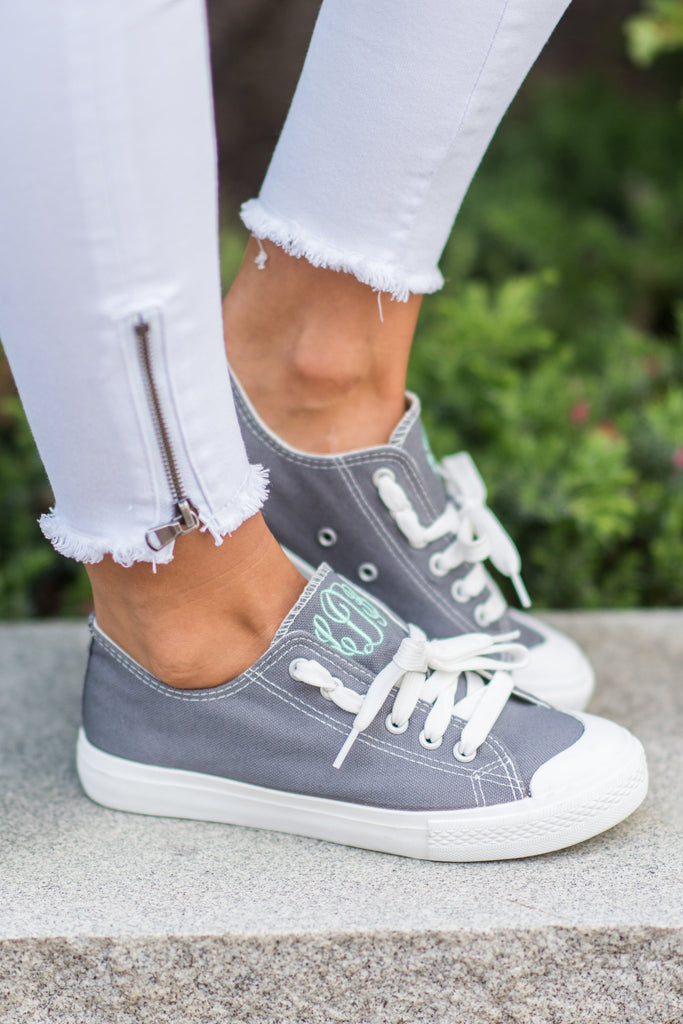 Let's Kick It Sneakers, Gray Jersey