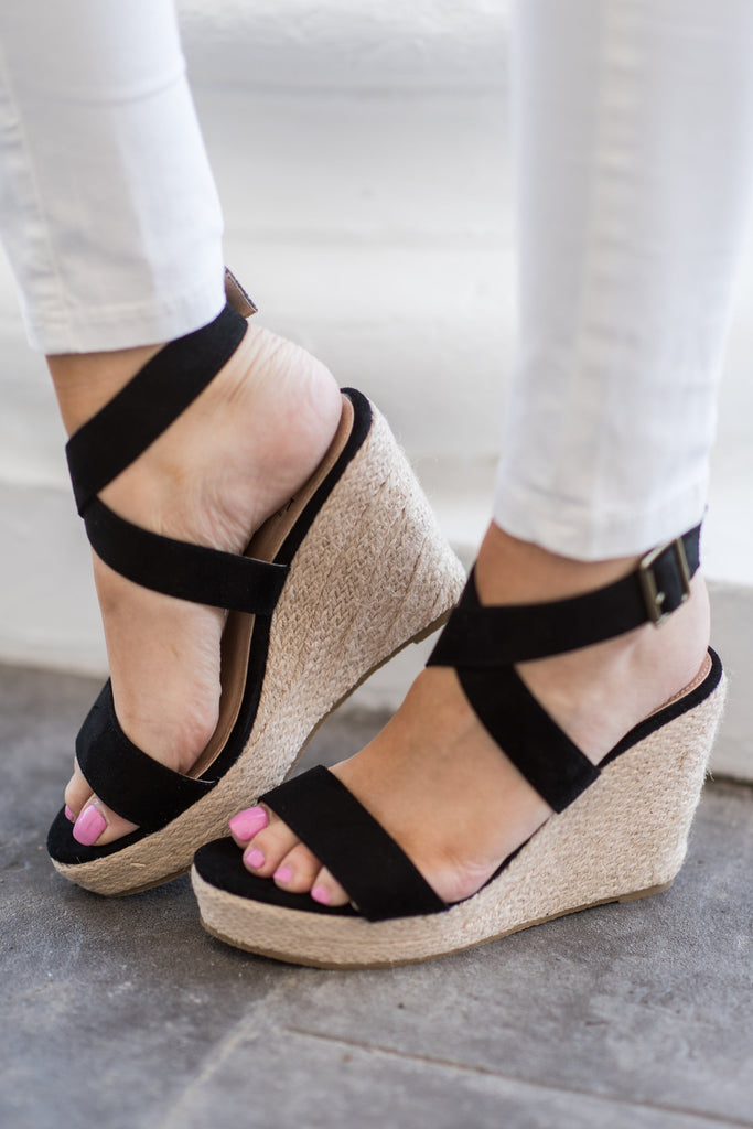 Off To Anywhere Wedges, Black