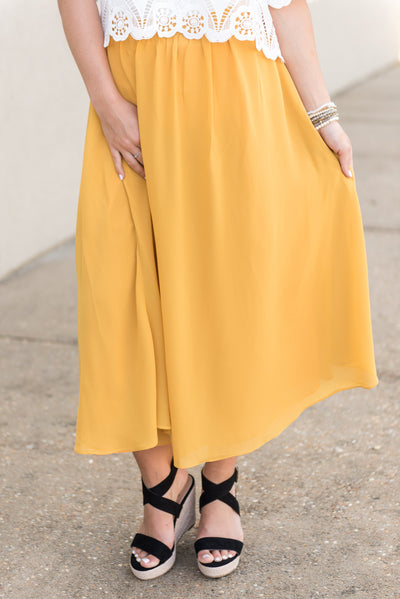 Beautiful Moment Midi Skirt, Yellow