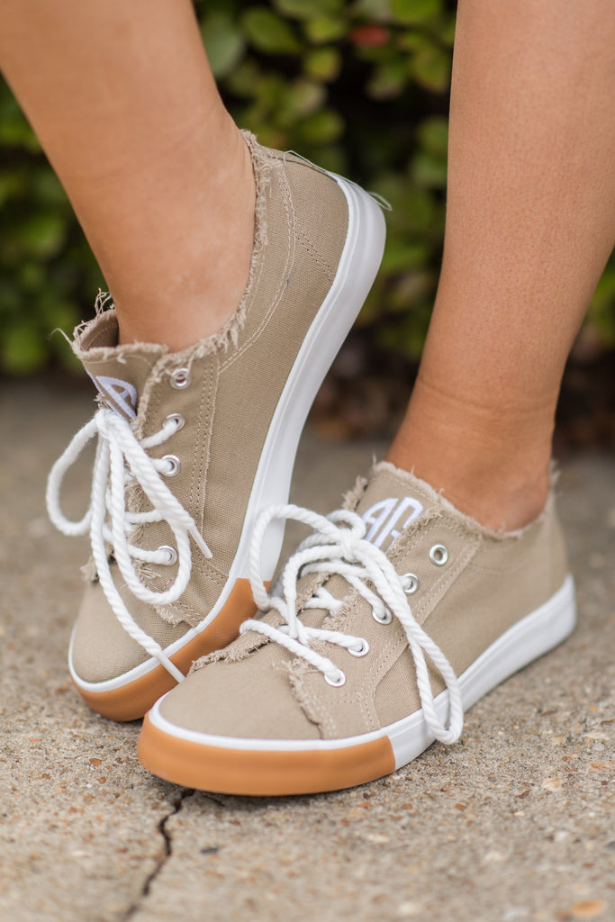 Canvas, Sneakers, Beige, Casual