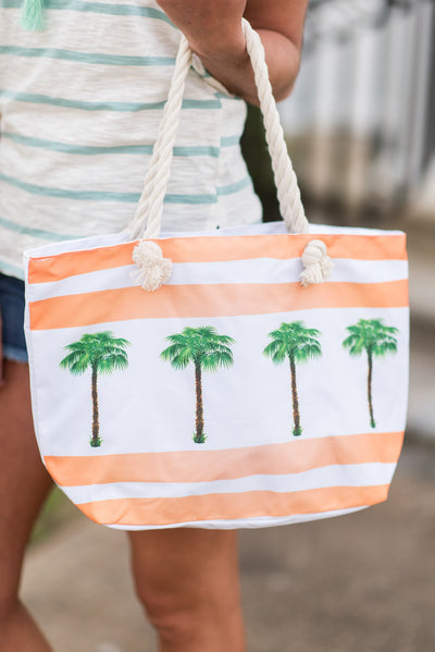Let's Get Away Cosmetic Bag& Tote, Orange-Palm Trees