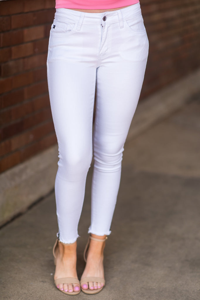 All Zipped Up Skinny Jeans, White
