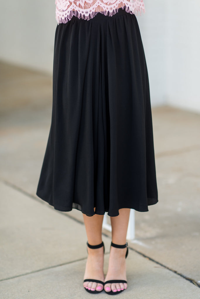 Beautiful Moment Midi Skirt, Black