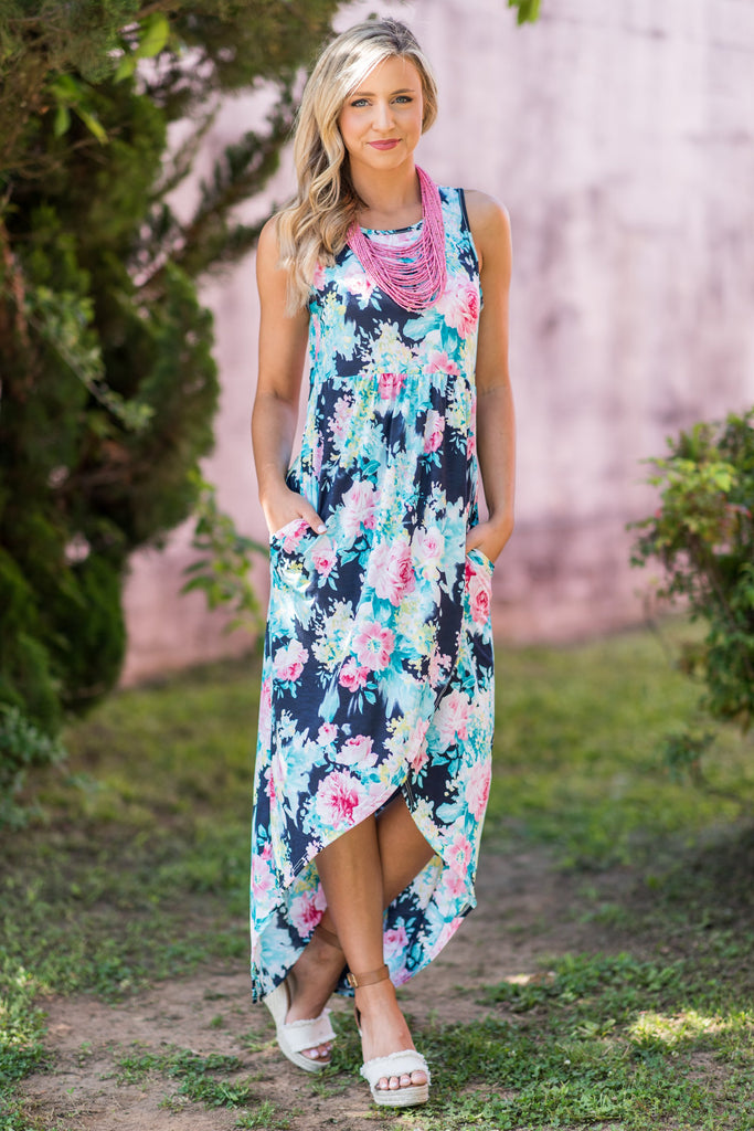 Can't Give You Up Maxi Dress, Navy-Fuchsia
