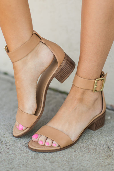 Palm Of Your Hand Heeled Sandals, Camel