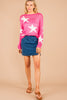 Set The Standard Hot Pink Star Print Sweater