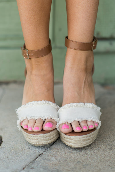 Never Leaving You Wedges, Beige