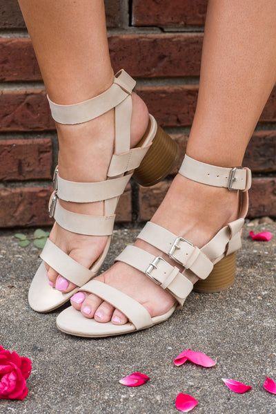 Chic Reputation Heeled Sandals, Light Tan