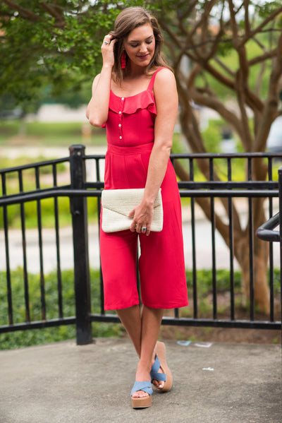 Planned Perfection Jumpsuit, Red