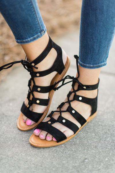 Will You Be Mine Sandals, Black