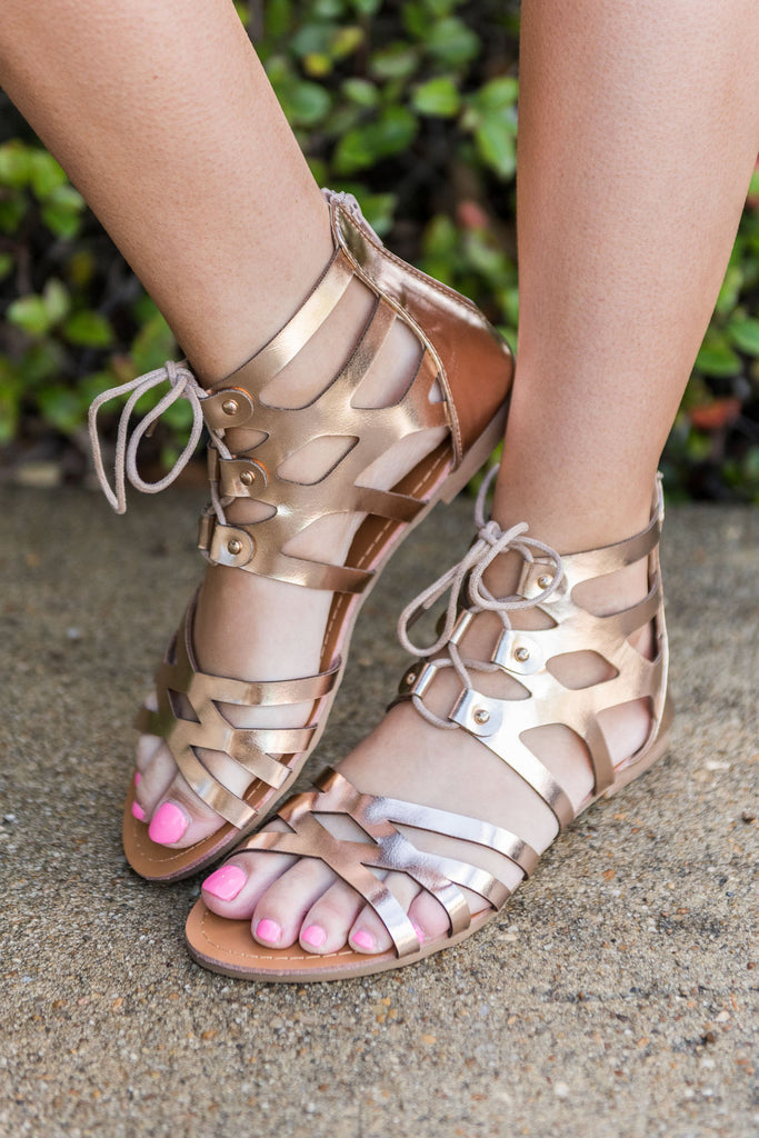 Coming Around Sandals, Rose Gold
