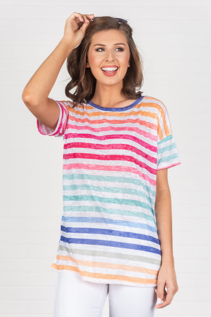 Chasing Rainbows Top, Red-Multi