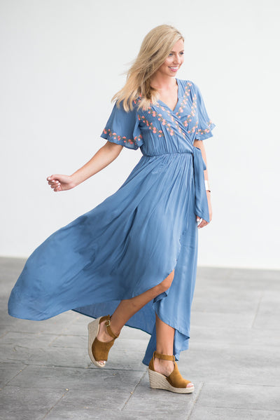 What A Boho Beauty Maxi Dress, Dusty Blue