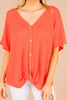flowy, tie front, short sleeves, v-neckline, red, top, button down front