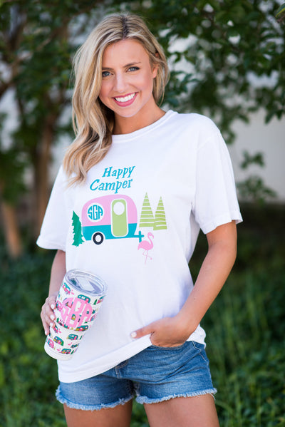 Comfort Colors: Happy Camper T-Shirt, White
