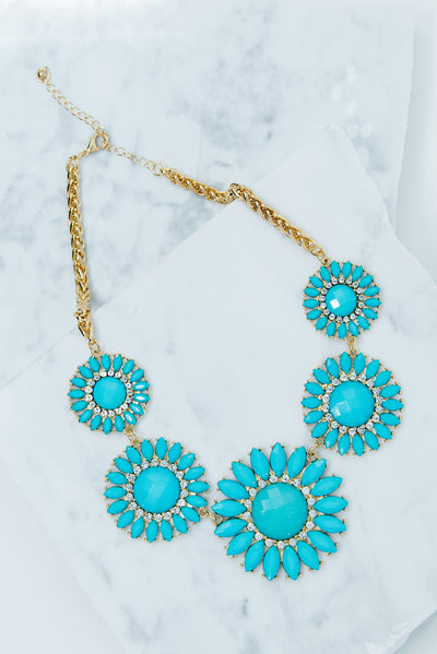 That's A Bold Statement Necklace, Sky Blue