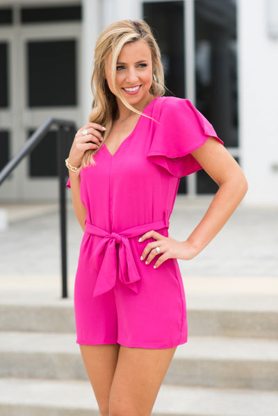 Here To Be Fab Romper, Fuchsia