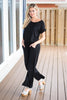 jumpsuit, solid, solid jumpsuit, black, black jumpsuit, short sleeve, short sleeve jumpsuit, comfy, cute, casual, summer, summer jumpsuit, vacation, vacation jumpsuit, hannahg, hannah g, hannah godwin