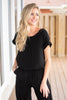 bottoms, jumpsuit, short sleeve jumpsuit, black short sleeve jumpsuit, black jumpsuit, black short sleeve jumpsuit with keyhole back, jumpsuit with keyhole back, keyhole back, black bottoms, black look of love jumpsuit,