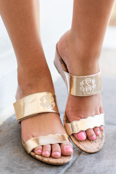 Let's Get Away Wedge Sandals, Gold