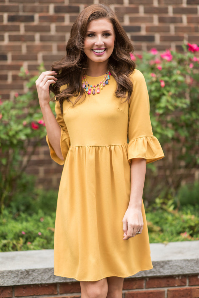 Dreaming Of The Day Mustard Yellow Peplum Sleeve Dress