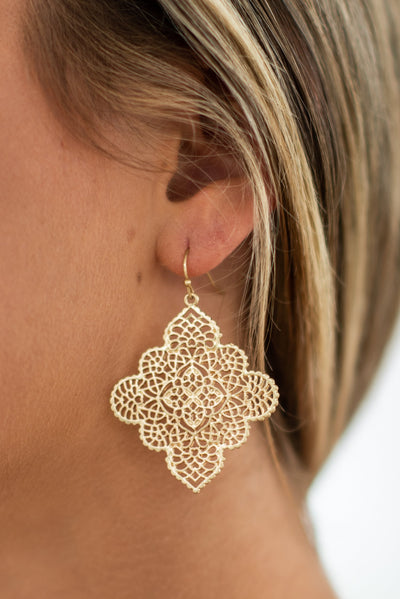 Detailed Drama Earrings, Gold