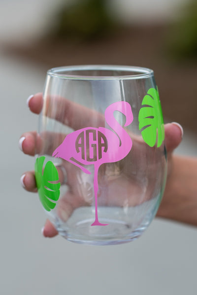 Birds Of  Feather Drink Together Stemless Wine Glass, Clear