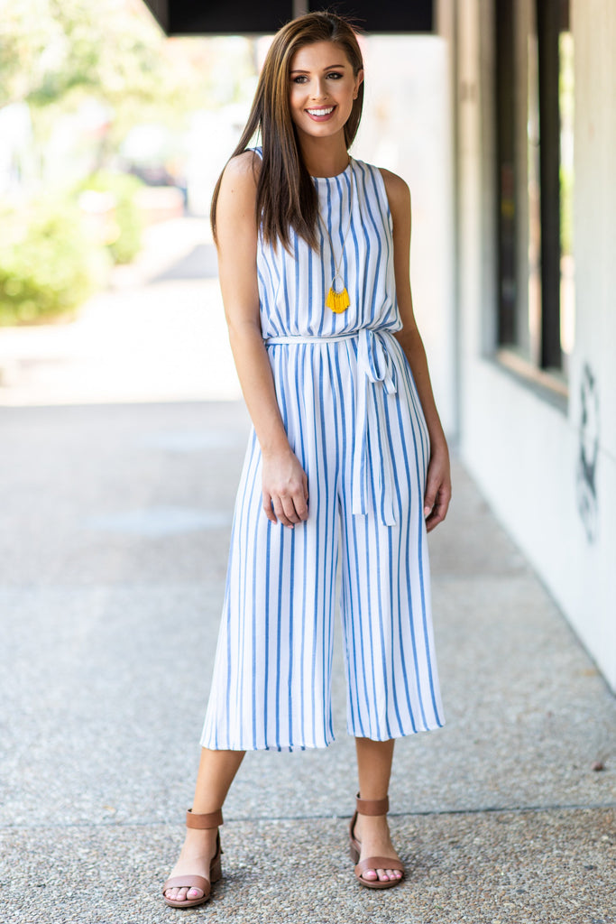 Chic For The Summer Jumpsuit, Off White-Blue