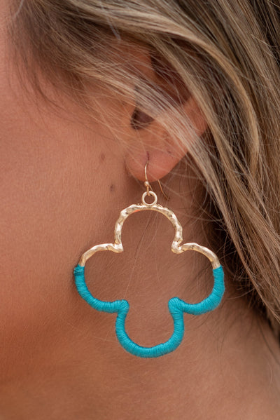 Wrapped In Love Earrings, Teal
