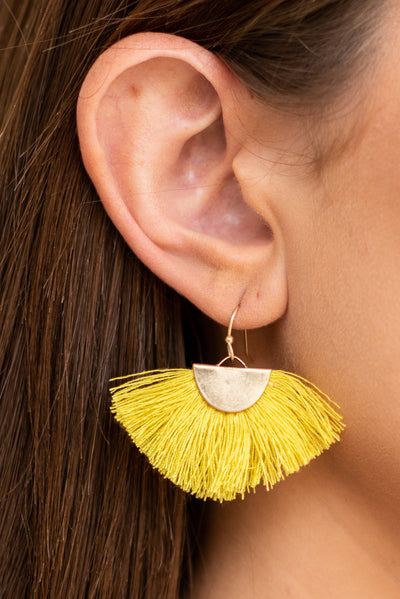 Never Give Up Earrings, Yellow