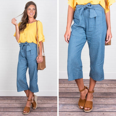 What A Deal Crop Pants, Denim Blue