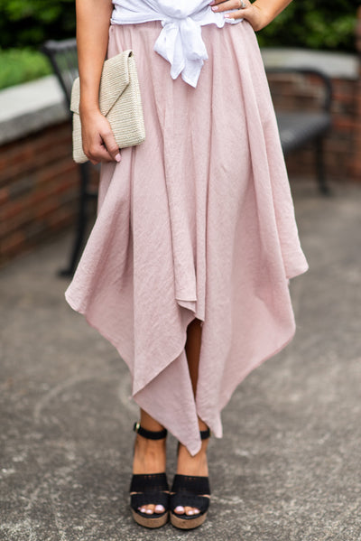 Good To Flow Handkerchief Skirt, Mauve