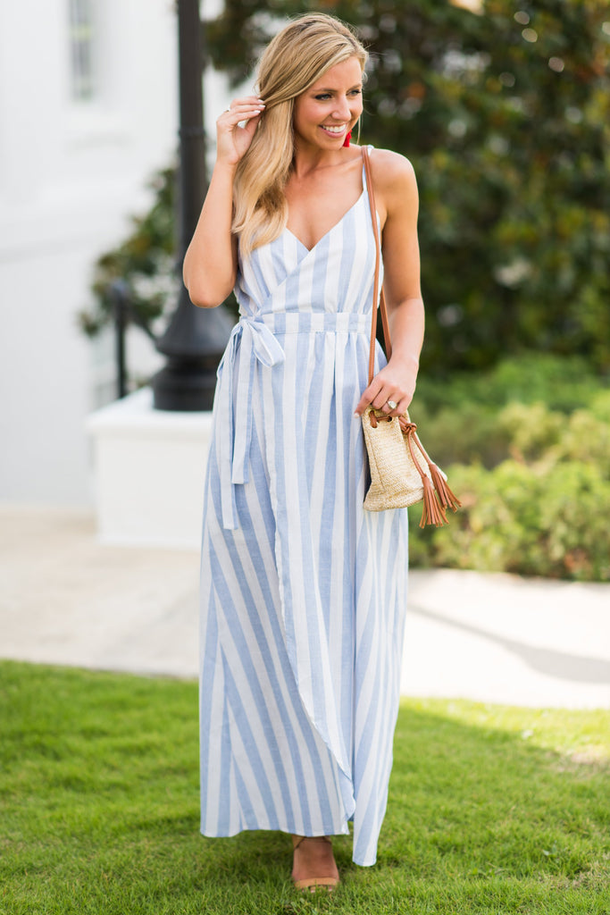 Not A Doubt In Your Mind Maxi Dress, Blue