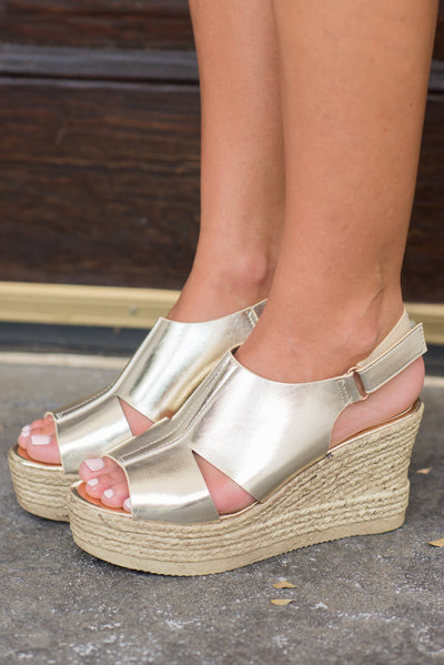 Can't Stop Your Shine Wedges, Champagne