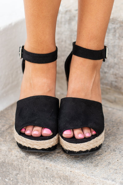 Your Lucky Day Wedges, Black