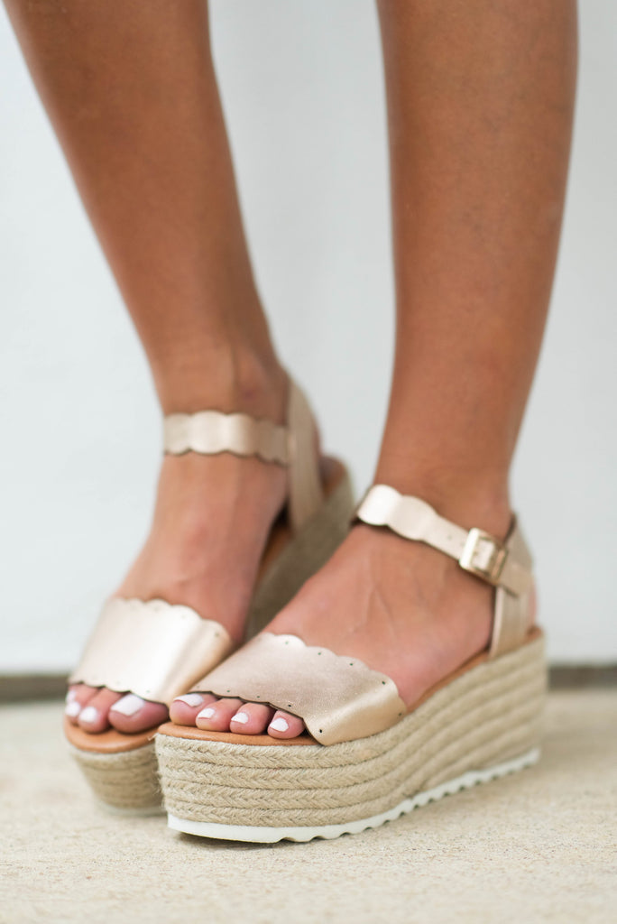 Daytime Adventures Platform Wedges, Rose Gold