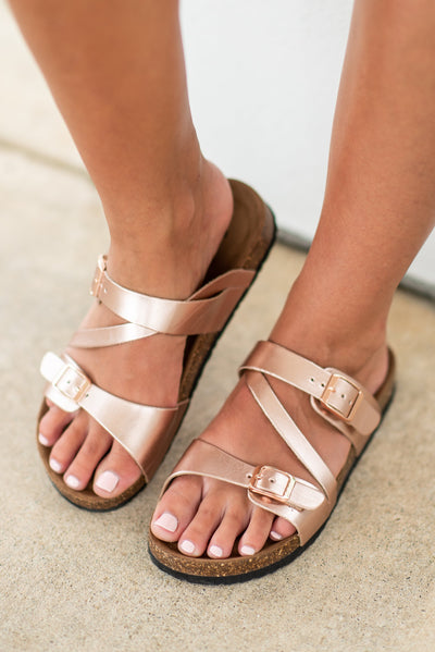 Love You Always Sandals, Rose Gold