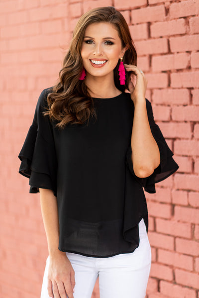 Reveling In Ruffles Top, Black