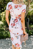 round neckline, pockets, short sleeves, floral print, midi dress, dress, ivory white, floral print dress