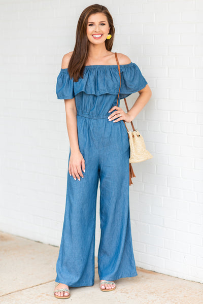 Fab And Breezy Jumpsuit, Chambray