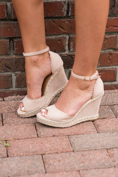 The Center Of Attention Wedges, Nude
