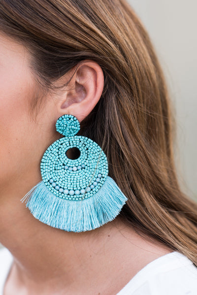 Believe In Drama Earrings, Turquoise